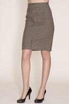 Corey Lynn Calter Doris Houndstooth Pencil Skirt in Black/Brown