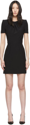 Alexander McQueen Black Leaf Crepe Midi Pencil Dress