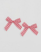 Asos Limited Edition Gingham Bow Stud Earrings