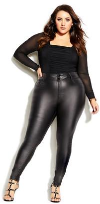 City Chic Skylar Short Coated Skinny Jean - black