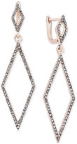INC International Concepts Rose Gold-Tone Pavé Double Diamond Drop Earrings, Only at Macy's