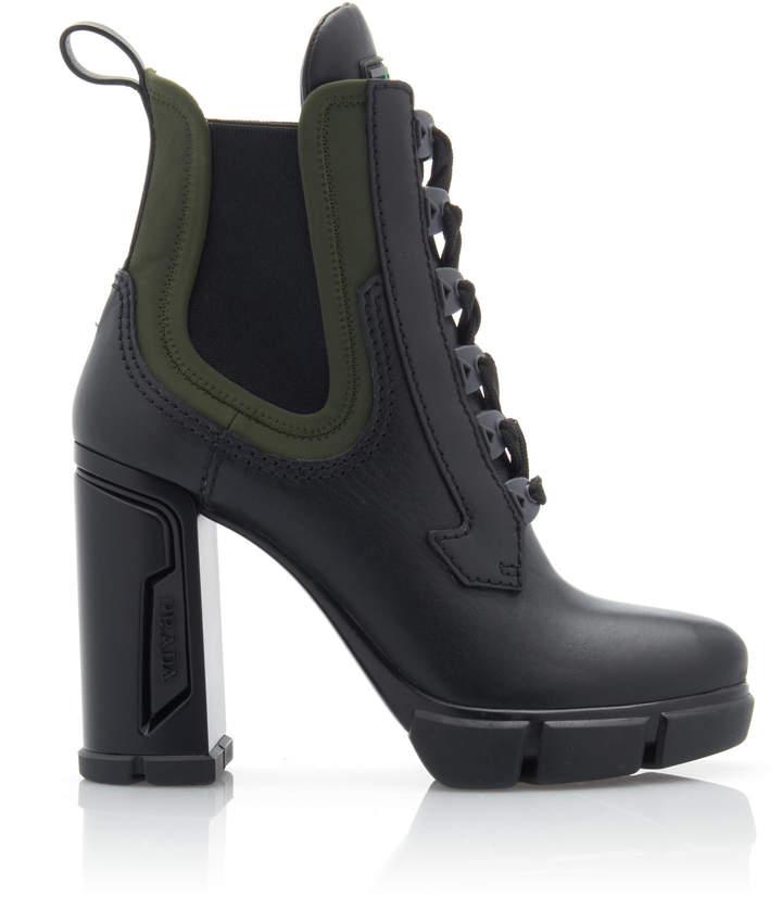 Prada Neoprene-Trimmed Leather Platform Ankle Boots