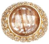 Rivka Friedman 18K Gold Clad Round Bezel Set Rutilated Crystal & Simulated Diamond Accent Ring