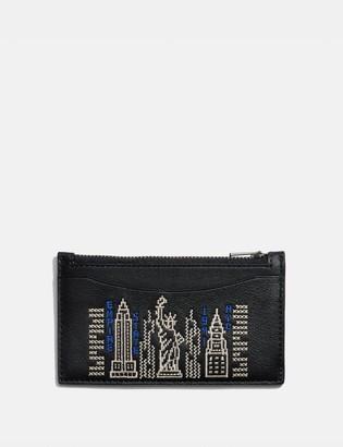 Coach Zip Card Case With Stardust City Skyline