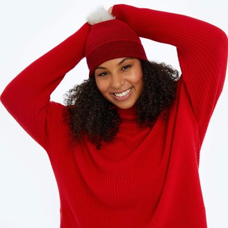 Summersalt The Coziest Cashmere Blend Pom Pom Hat - Pinot & Lava
