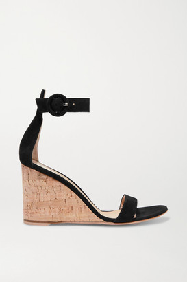 Gianvito Rossi Portofino 85 Suede Wedge Sandals - Black