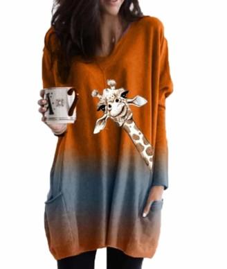 Hellomiko Giraffe Print T-Shirt Dress Womens Gradient Print V-Neck Pocket Long Sleeve T-Shirts Orange