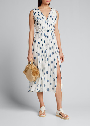 Jason Wu Floral Print V-Neck Sleeveless Midi Ruffle Dress
