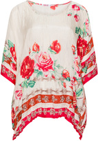 Johnny Was Plus Size Vintage rose print silk tunic