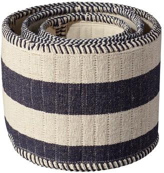 OKA Set of Three Striped Storage Baskets - Navy/Natural
