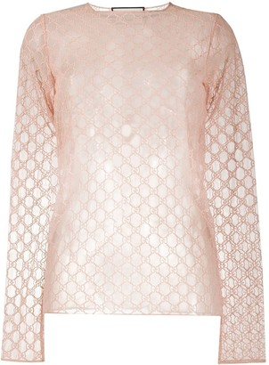 Gucci GG-embroidered sheer top