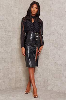 I SAW IT FIRST Black Faux Croc Leather Split Midi Skirt