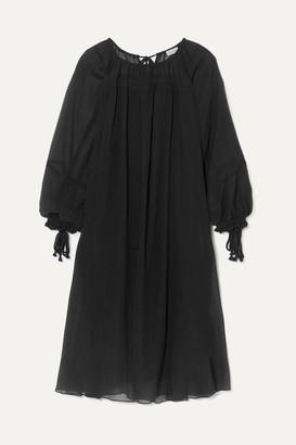 By Malene Birger Dorie Tasseled Cotton And Silk-blend Crepon Dress - Black