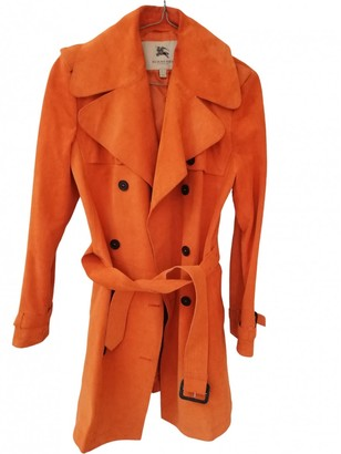 Burberry Orange Suede Trench Coat for Women