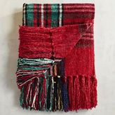 Pier 1 Imports Stewart Plaid Red Chenille Throw