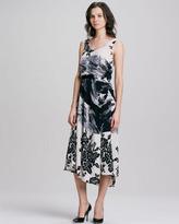 Sleeveless Scoop-Neck Silk Print Dress