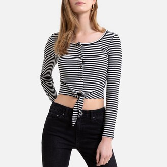 Pepe Jeans Striped Cropped Ribbed T-Shirt with Tie-Front and Buttons