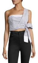 KENDALL + KYLIE One-Shoulder Tie-Front Top