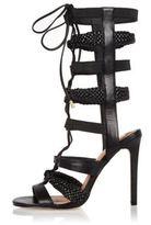 River Island Womens Black strappy tie-up heels