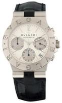 Bulgari Diagono 18K White Gold & Leather Chronograph with Date Quartz 35mm Mens Watch