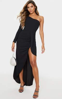 PrettyLittleThing Black One Shoulder Drape Skirt Maxi Dress