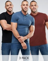 Asos 3 Pack Muscle Polo Shirt In Pique In Black/Blue/Rust