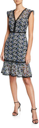 Elie Tahari Florance Floral Mesh V-Neck Sleeveless Flounce Dress