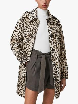 AllSaints Suzie Leopard Print Jacket, Beige