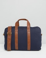 Asos Satchel In Navy Canvas With Tan Straps