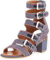 Laurence Dacade Nora Striped Canvas Buckle-Strap Sandal, Navy