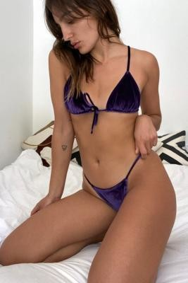 Out From Under Velour Tanga Bikini Bottoms - Purple S at Urban Outfitters