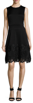 Shoshanna Lace Trimmed Flare Dress