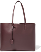 Saint Laurent Shopping Large Textured-leather Tote - Burgundy