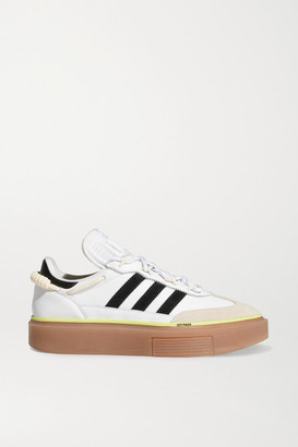 adidas + Ivy Park Supersleek Leather, Neoprene And Suede Sneakers - White