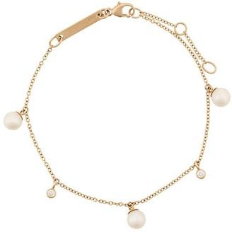 Zoë Chicco 14kt Yellow Gold Pearl And Diamond Dangle Bracelet