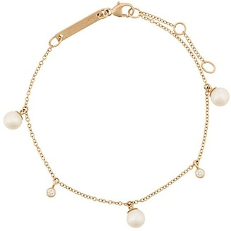 Chicco Zoë 14kt yellow gold pearl and diamond dangle bracelet