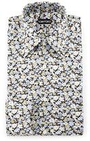 Tom Ford Hydrangea Prairie-Floral Slim-Fit Shirt, Blue
