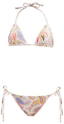 Etro Ibiza Paisley-print Triangle Bikini - White Multi