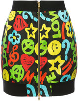 Moschino peace and love front zip skirt - women - Silk/Cotton/Polyamide/Viscose - 40