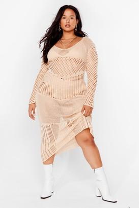 Nasty Gal Womens Plus Size Crochet Long Sleeve Maxi Dress - Beige - 18-20