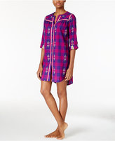 Lucky Brand Contrast-Trimmed Flannel Sleepshirt