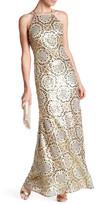 Nicole Miller Pattern Sequin Halter Gown