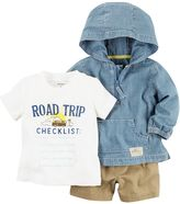 Carter's Baby Boy Roadtrip Tee, Hooded Chambray Pullover & Shorts Set