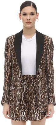R 13 Leopard Print Silk & Viscose Blazer