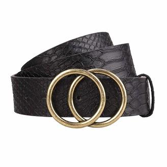 Earnda Women's Leather Belt Fashion Soft Faux Leather Waist Belts For Jeans Dress - black - X-Small