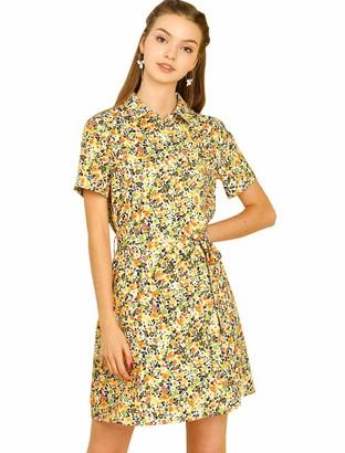 Allegra K Women's Floral Short Sleeve Casual Tie Waist Pocket Shirt Dress Beige M