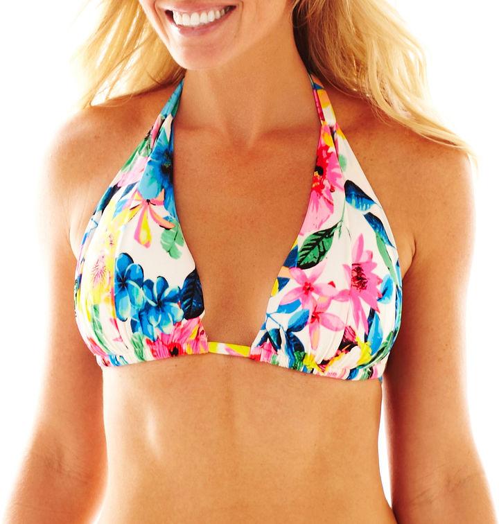 JCPenney OCEAN AVENUE Ocean Avenue Floral Print Halter Swim Top