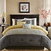 Madison Home USA Serene Comforter Reversible Solid Faux Silk Floral Flower Embroidered Pleated Stripes Patchwork Soft Down Alternative Hypoallergenic All Season Bedding-Set