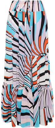 Emilio Pucci Tiered Printed Silk Crepe De Chine Maxi Skirt