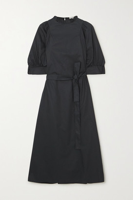 Atlantique Ascoli Belted Cotton-poplin Midi Dress - Black